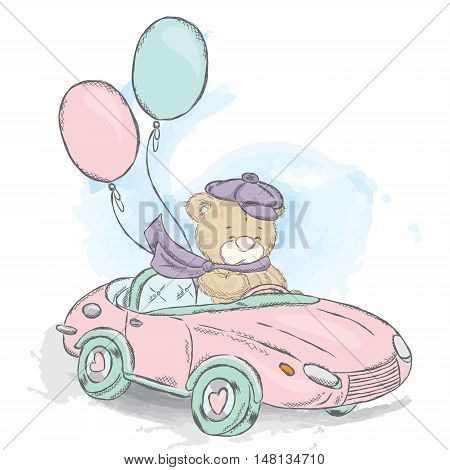 Cute teddy bear in a convertible. Vector illustration for a card or poster, print on clothes. Charming teddy bear in the car. Vintage.