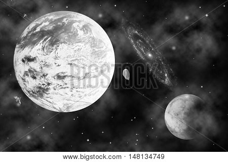meteorite near earth on universe for background