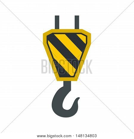 Hook from crane icon in flat style isolated on white background. Equipment symbol vector illustration