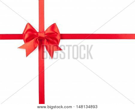Red bow and ribbon isolated on white background.