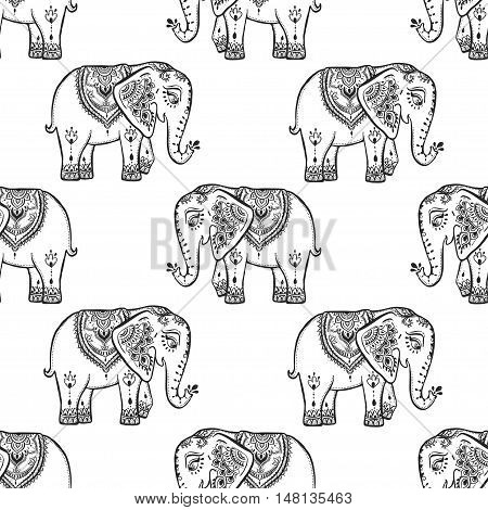 Pattern with baby elephant made in vector. Color ornamental illustration for design, pattern, textiles. Use for children s clothes, pajamas and adult coloring book