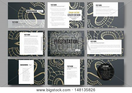Set of 9 vector templates for presentation slides. Polygonal backdrop with golden connecting dots and lines, connection structure. Digital scientific background.