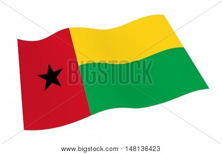 Guinea Bissau flag isolated on white background from world flags set. 3D illustration.