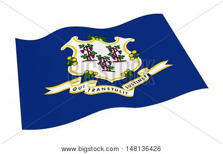 Connecticut flag isolated on white background from world flags set. 3D illustration.