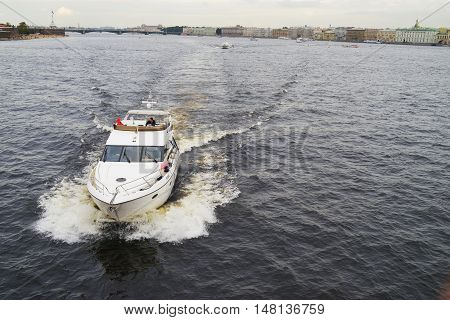 SAINT-PETERSBURG RUSSIA - SEPTEMBER 2016. Pleasure boat sailing on the Neva