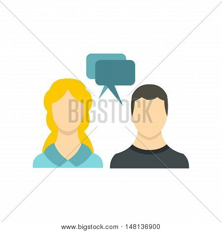 SMS chat friends icon in flat style isolated on white background. Message symbol vector illustration