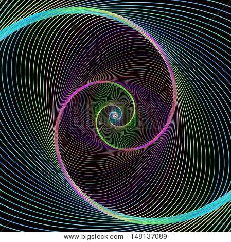 Multicolored computer generated digital spiral fractal background design