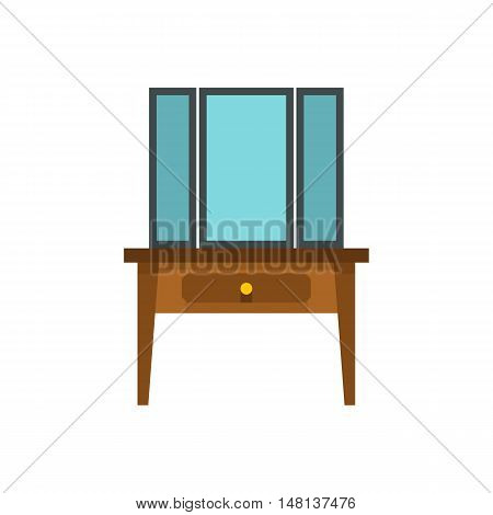Chest of drawers with mirror icon in flat style isolated on white background. Furniture symbol vector illustration