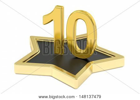 3D golden number 10 on star podium 3D rendering isolated on white background