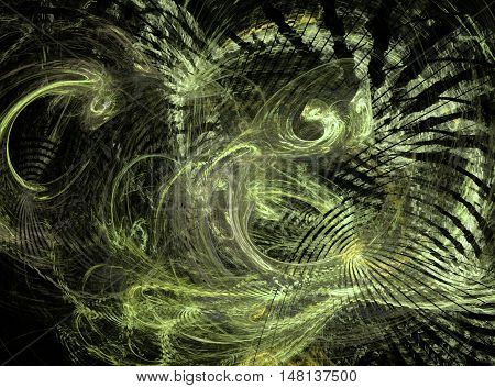 Abstract beautiful chaos fractal on black background