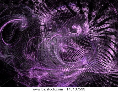 Abstract pink light chaos fractal on black background