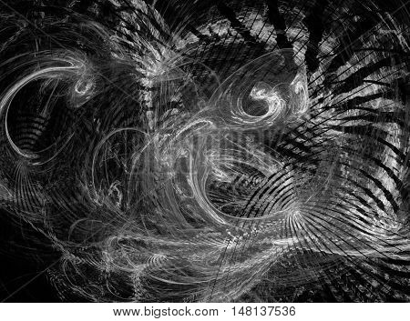 Abstract grey chaos fractal on black background