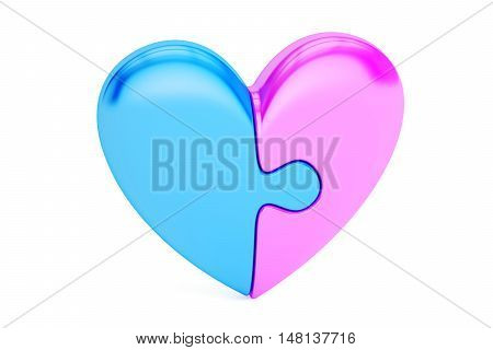 Puzzle Heart love concept. 3D rendering isolated on white background