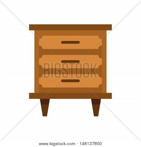 Drawer icon in flat style isolated on white background. Furniture symbol vector illustration
