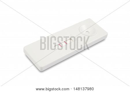 pregnancy test on white background included clipping path