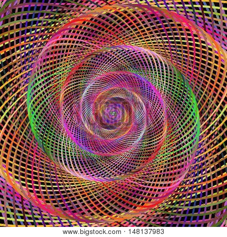 Multicolored hypnotic wired spiral fractal art design background