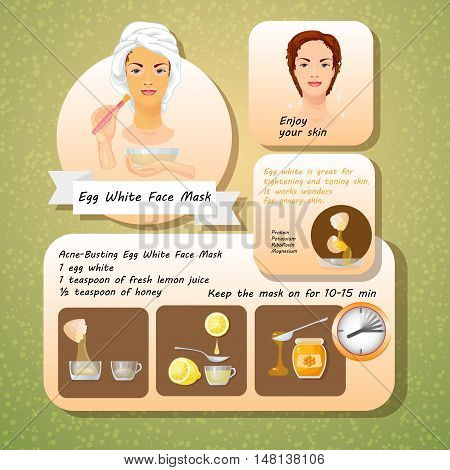 Vector illustration of Egg White Face Mask Recipes. Cosmetic mask for face skin. Spa Facial Mask. Set of natural ingredients for facials.