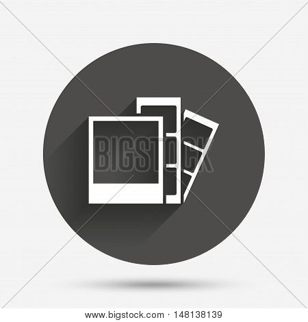 Photo frame template sign icon. Photo booth strips symbol. Circle flat button with shadow. Vector