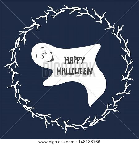 Happy Halloween card. Scary ghost. Halloween poster card with ghosts.
