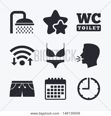 Swimming pool icons. Shower water drops and swimwear symbols. WC Toilet sign. Trunks and women underwear. Wifi internet, favorite stars, calendar and clock. Talking head. Vector