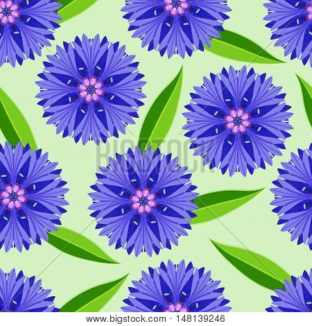 Beautiful nature green seamless pattern with cornflowers and leaves. Floral bright background with stylized summer flowers. Trendy stylish wallpaper. Vector illustration