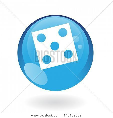 Blue dice isolated on white