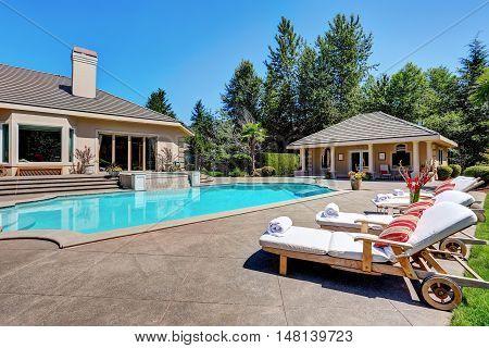 Great Backyard With Swimming Pool. American Suburban Luxury House