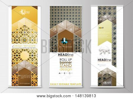 Set of roll up banner stands, flat design templates, abstract geometric style, modern business concept, corporate vertical vector flyers, flag banner layouts. Islamic gold pattern, overlapping geometric shapes forming abstract ornament. Vector golden text