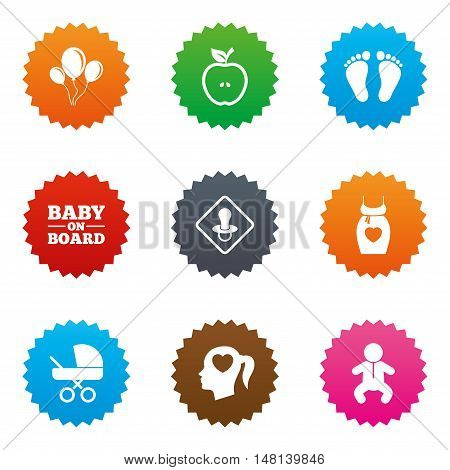 Pregnancy, maternity and baby care icons. Air balloon, baby carriage and pacifier signs. Footprint, apple and newborn symbols. Stars label button with flat icons. Vector