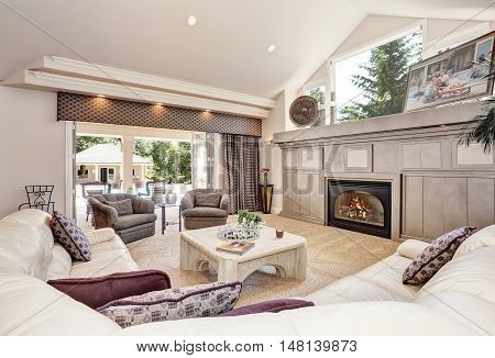 Gorgeous Luxury Furnished Family Room Interior