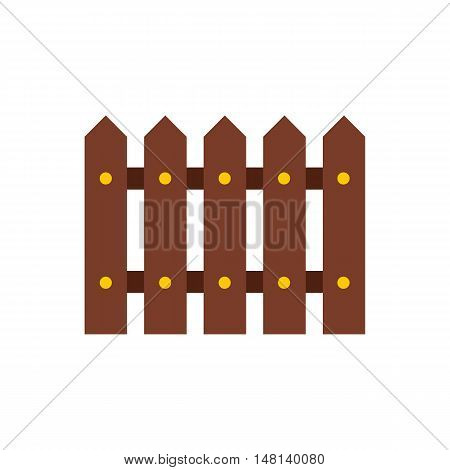 Wooden fence icon in flat style isolated on white background. Fencing symbol vector illustration