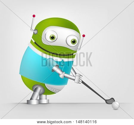 Cartoon Character Cute Robot Isolated on Grey Gradient Background. Hockey.