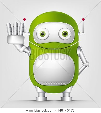 Cartoon Character Cute Robot Isolated on Grey Gradient Background. Stop.