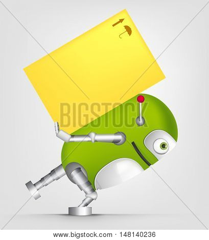 Cartoon Character Cute Robot Isolated on Grey Gradient Background. Delivery.