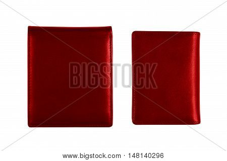 dual red wallet on white included clipping path