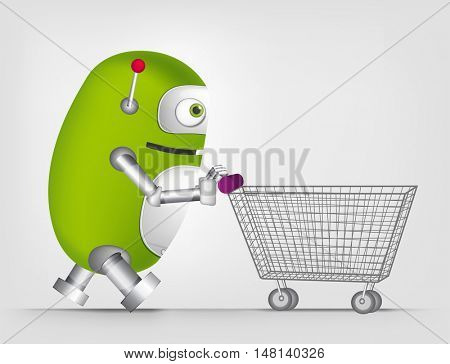 Cartoon Character Cute Robot Isolated on Grey Gradient Background. Shopping.