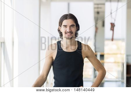Young Male Ballet Dancer, Man Happy Smile Stand Dance Studio