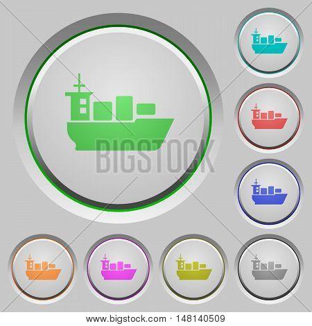 Set of color sea transport sunk push buttons.