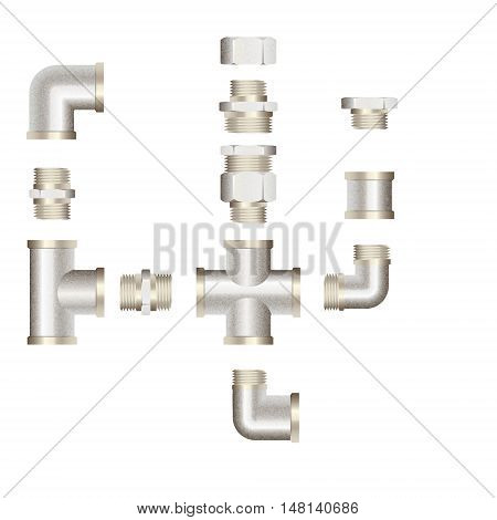 realistic plumbing fittings. Vector illustration.Isolated on white background.
