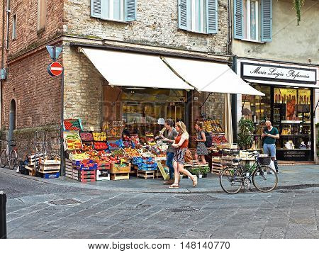 Greengrocer Stall In A Market Zone Of Parma, Italy.