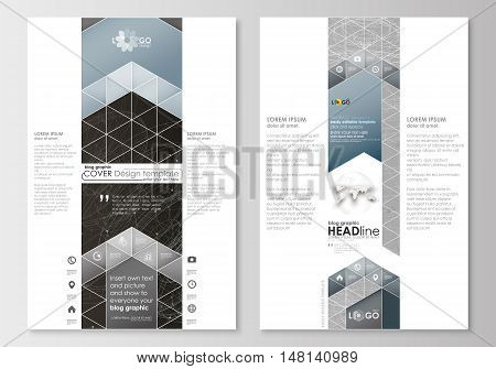 Blog graphic business templates. Page website design template, easy editable, abstract flat layout. Abstract 3D construction and polygonal molecules on gray background, scientific technology vector