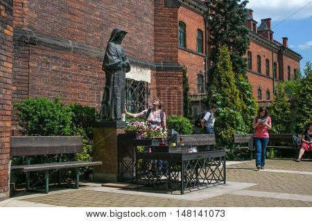 POLAND, KRAKOW - MAY 28, 2016: Monument to Saint Faustina Kowalska. Monastery Congregation of the Sisters of Our Lady of Mercy. Sanctuary in Lagiewniki.