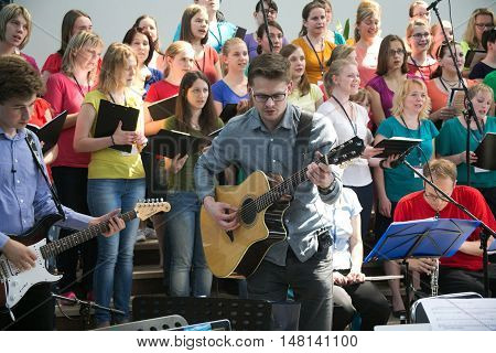 POLAND, KRAKOW - MAY 28, 2016: Open music performance in Basilica of the Divine Mercy. Sanctuary in Lagiewniki. Millions of pilgrims from around the world visit it every year.