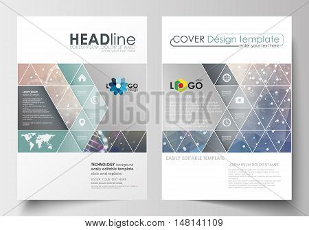Business templates for brochure, magazine, flyer, booklet or annual report. Cover design template, easy editable blank, abstract flat layout in A4 size. DNA molecule structure on blue background. Scientific research, medical technology.