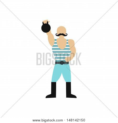 Weightlifter in the circus icon in flat style isolated on white background. Entertainment symbol vector illustration