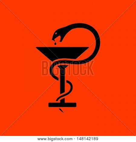Medicine Sign With Snake And Glass Icon