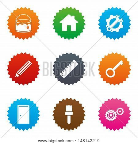 Repair, construction icons. Service, key and door signs. Painting, brush and pencil symbols. Stars label button with flat icons. Vector
