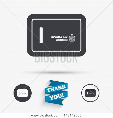 Safe sign icon. Deposit lock symbol. Biometric access by fingerprint. Flat icons. Buttons with icons. Thank you ribbon. Vector