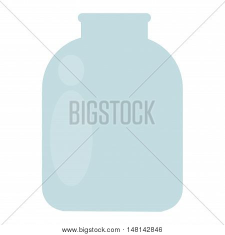 Empty glass jar glassware blank isolated on white background. Transparent white lid container glass jar cover kitchenware. Glass jar conservation canister single clear fragile kitchen utensil vector.