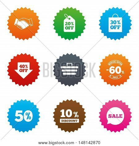 Sale discounts icon. Shopping, handshake and cart signs. 10, 50 and 60 percent off. Special offer symbols. Stars label button with flat icons. Vector